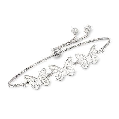 Italian Sterling Silver Butterfly Bolo Bracelet