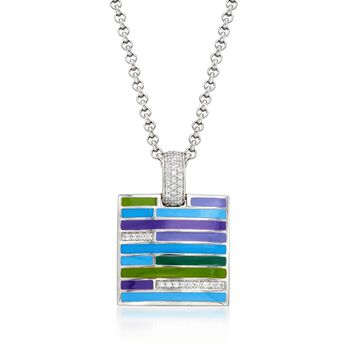 """Belle Etoile """"Strata"""" Blue and Purple Enamel and .33 ct. t.w. CZ Pendant in Sterling Silver, , default"""