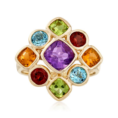 5.70 ct. t.w. Multi-Gemstone Cluster Ring in 14kt Yellow Gold, , default