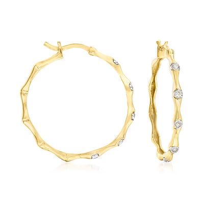 .10 ct. t.w. Diamond Bamboo Hoop Earrings in 18kt Gold Over Sterling