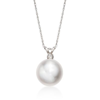 11mm Cultured Pearl Pendant Necklace with Diamond in 14kt White Gold, , default