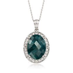 13.00 Carat Green Beryl and .80 ct. t.w. White Topaz Pendant Necklace in Sterling Silver, , default