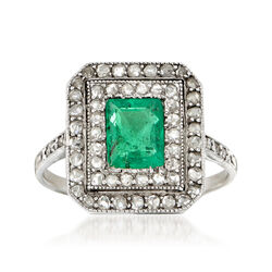 C. 1930 Vintage .65 Carat Emerald and .50 ct. t.w. Diamond Ring in 18kt White Gold, , default