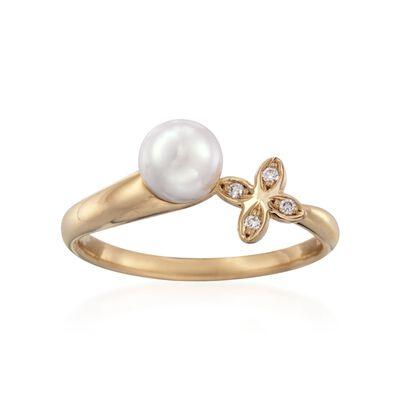 Mikimoto 6mm A+ Akoya Pearl Floral Ring With Diamond Accents in 18kt Yellow Gold, , default