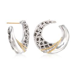 "Andrea Candela ""Rioja"" Sterling Silver and 18kt Gold Front-Facing Hoop Earrings With Diamond Accents. 3/4"", , default"