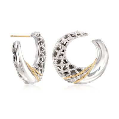 "Andrea Candela ""Rioja"" Sterling Silver and 18kt Gold Front-Facing Hoop Earrings with Diamond Accents , , default"