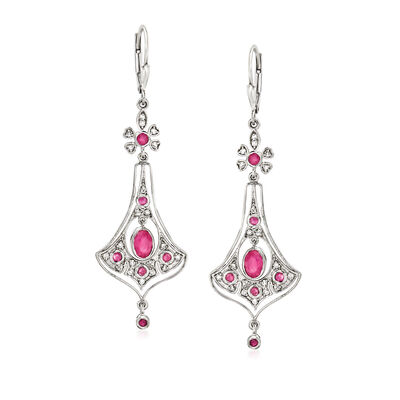 1.50 ct. t.w. Ruby and .34 ct. t.w. Diamond Drop Earrings in Sterling Silver