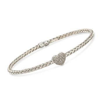 ".10 ct. t.w. Diamond Heart Bangle Bracelet in Sterling Silver. 7.5"", , default"