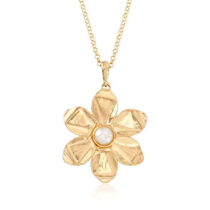 """5.5-6mm Cultured Pearl and 18kt Yellow Gold Over Sterling Silver Flower Pendant Necklace. 18"""", , default"""