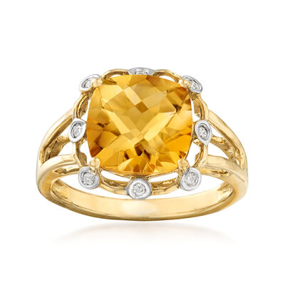 2.90 Carat Citrine Ring with Diamond Accents in 14kt Yellow Gold, , default
