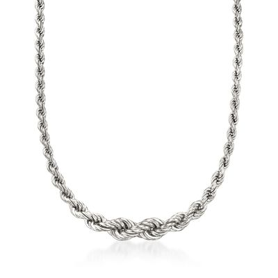 Italian Sterling Silver Graduated Rope Chain Necklace