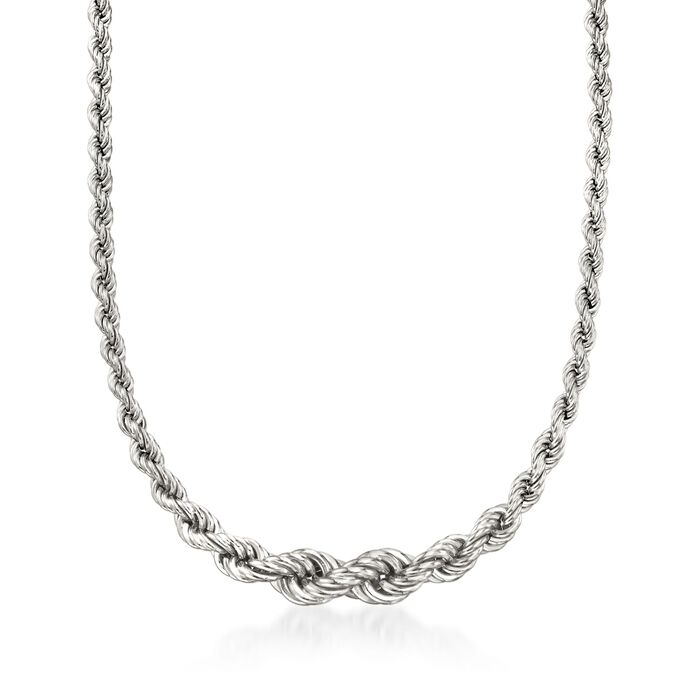 Italian Sterling Silver Graduated Rope Chain Necklace, , default