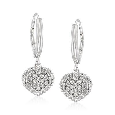 .26 ct. t.w. Pave Diamond Heart Drop Earrings in Sterling Silver, , default