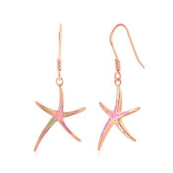 Pink Synthetic Opal Starfish Drop Earrings in 18kt Rose Gold Over Sterling