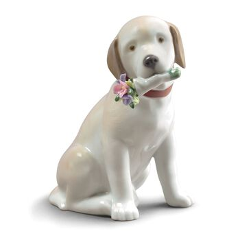 """Lladro """"This Bouquet is for You"""" Porcelain Dog Figurine, , default"""