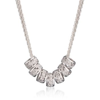 .15 ct. t.w. Diamond Barrel Bead Necklace in Sterling Silver, , default