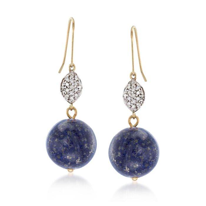 12mm Lapis Bead and .14 ct. t.w. Diamond Drop Earrings in 14kt Yellow Gold, , default
