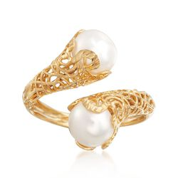 Italian 8mm Cultured Pearl Filigree Bypass Ring in 14kt Yellow Gold, , default