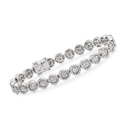 "4.25 ct. t.w. Diamond Halo Circle Link Bracelet in 18kt White Gold. 7"", , default"