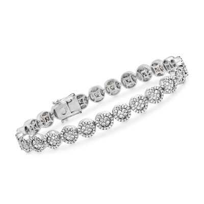 4.25 ct. t.w. Diamond Halo Circle Link Bracelet in 18kt White Gold, , default