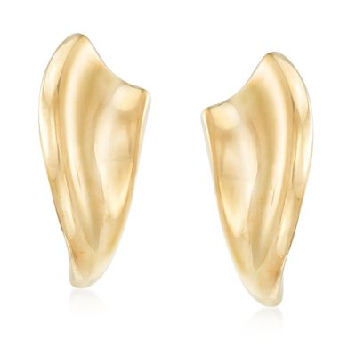 Italian 18kt Gold Over Sterling Silver Sculptural Curve Earrings, , default