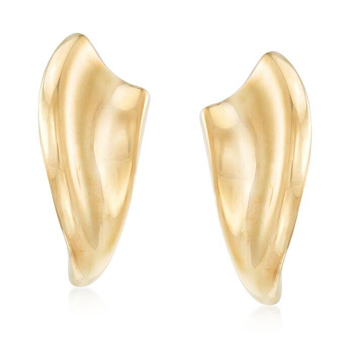 Italian 18kt Gold Over Sterling Silver Sculptural Curve Earrings, , default