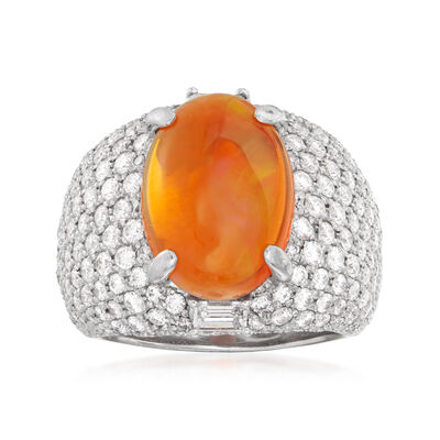 C. 2000 Vintage Fire Opal and 3.20 ct. t.w. Diamond Ring in 18kt White Gold