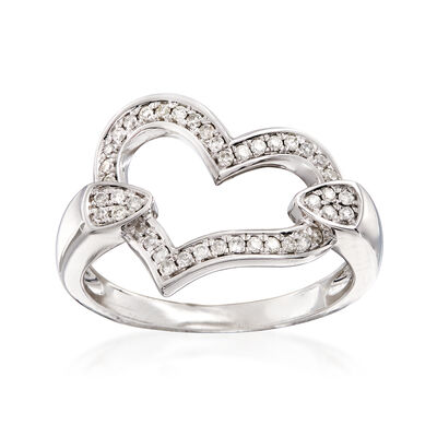 C. 1990 Vintage .30 ct. t.w. Diamond Heart Ring in 14kt White Gold, , default