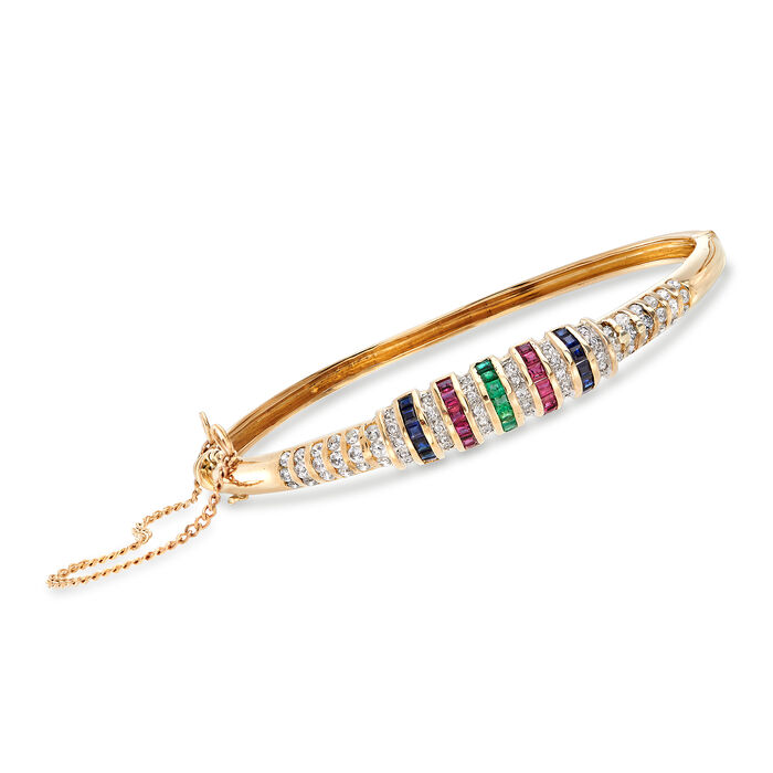 "C. 1970 Vintage 3.06 ct. t.w. Multicolored Multi-Stone Bracelet in 14kt Yellow Gold. 7"", , default"