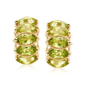 5.50 ct. t.w. Marquise Peridot Earrings in 14kt Yellow Gold , , default