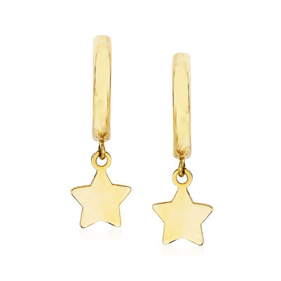 Child's 14kt Yellow Gold Star Charm Hoop Earrings, , default