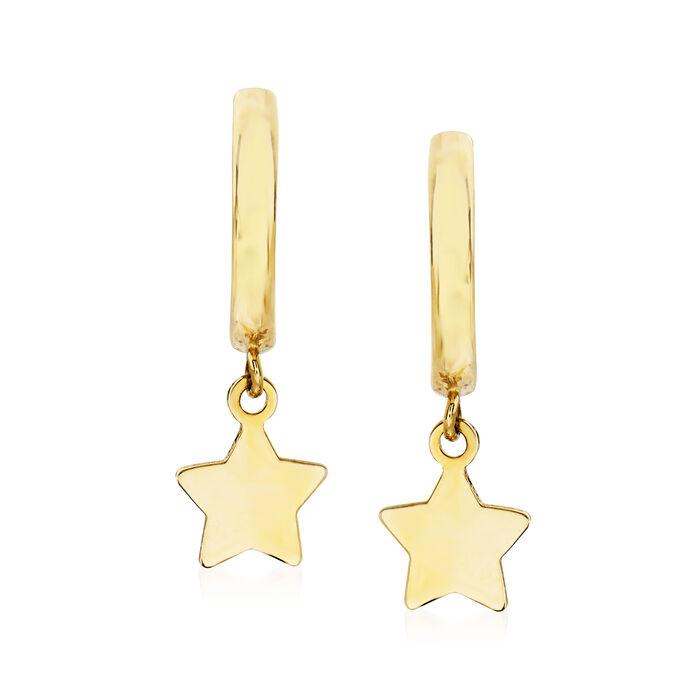 "Child's 14kt Yellow Gold Star Charm Hoop Earrings. 5/8"", , default"