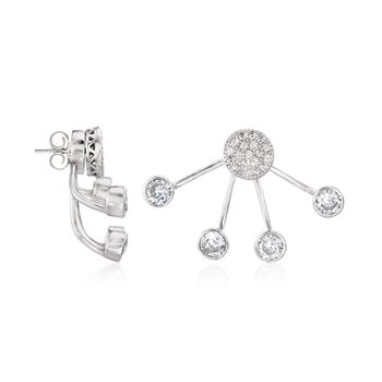 2.35 ct. t.w. CZ Front-Back Earrings in Sterling Silver, , default