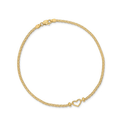 14kt Yellow Gold Heart Anklet