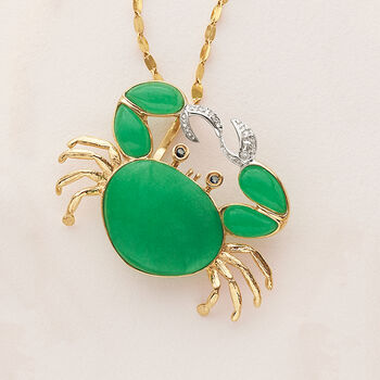 Green Jade and .10 ct. t.w. Sapphire Crab Pendant with Diamond Accents  in 14kt Yellow Gold , , default