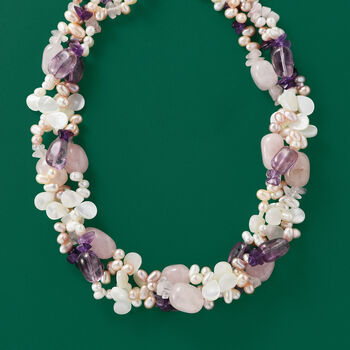 """Cultured Pearl, Rose Quartz and Amethyst Torsade Necklace in Sterling Silver. 18"""""""