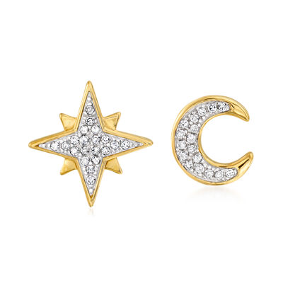.10 ct. t.w. Diamond Star and Moon Earrings in Sterling and 18kt Gold Over Sterling