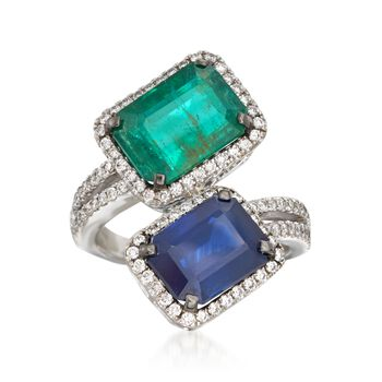 9.20 ct. t.w. Emerald and Sapphire Bypass Ring With Diamonds in 18kt White Gold, , default