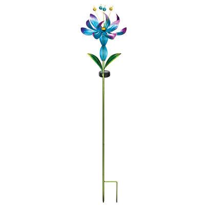 Regal Blue Flower Spinner Solar Garden Stake, , default