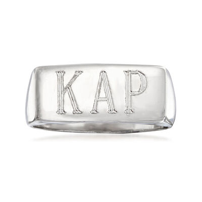 Italian Sterling Silver Personalized Bar Ring, , default