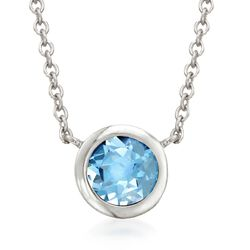 "1.00 Carat Bezel-Set Blue Topaz Necklace in Sterling Silver. 16"", , default"