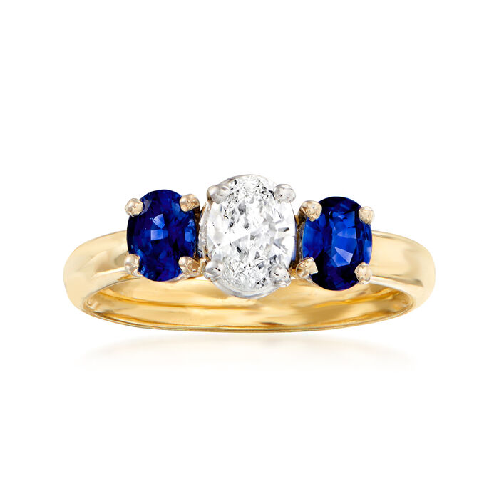 C. 1980 Vintage .45 Carat Diamond and .85 ct. t.w. Sapphire Ring in 18kt Yellow Gold. Size 5.75