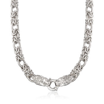 Italian Sterling Silver Byzantine and Oval Link Necklace With Double Lion Head Clasp, , default