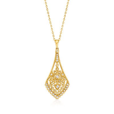 .33 ct. t.w. Diamond Openwork Pendant Necklace in 14kt Yellow Gold