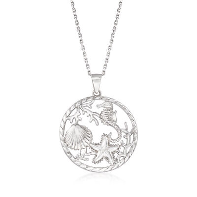 Sterling Silver Pendants. Image Featuring Sea Life Pendant Necklace D00920