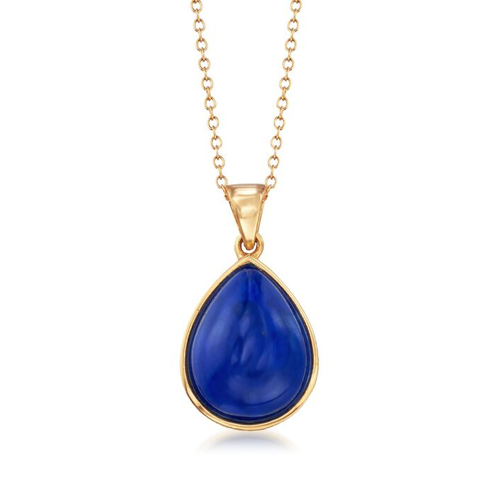 "Pear-Shaped Lapis Cabochon Pendant Necklace in 18kt Gold Over Sterling. 18"", , default"