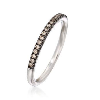 Henri Daussi .18 ct. t.w. Light Brown Diamond Wedding Ring in 18kt White Gold, , default