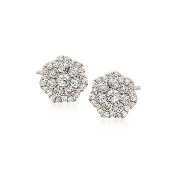 .50 ct. t.w. Floral Diamond Stud Earrings in 14kt White Gold, , default