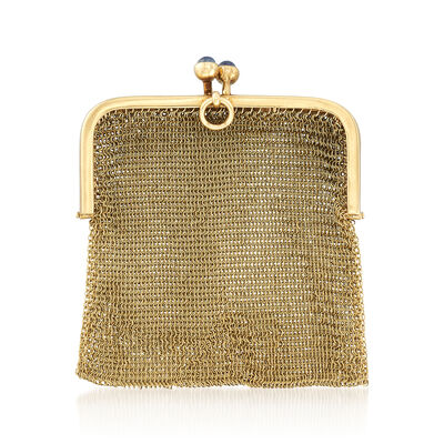 C. 1940 Vintage 14kt Yellow Gold Mesh Purse Charm with Sapphire Accents, , default