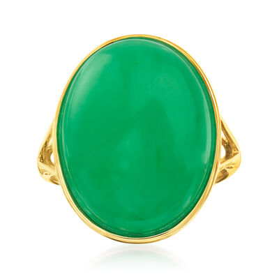 Jade Ring in 14kt Yellow Gold